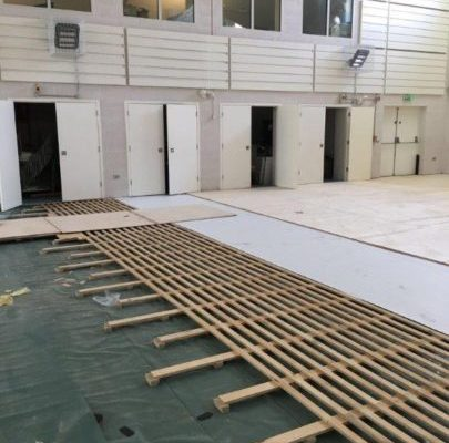 School during indoor sports hall floor refurbishment with pulastic
