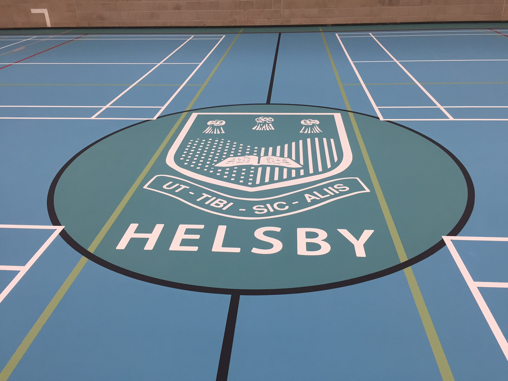 School Sports hall court pulastic floor with Logo and line markings