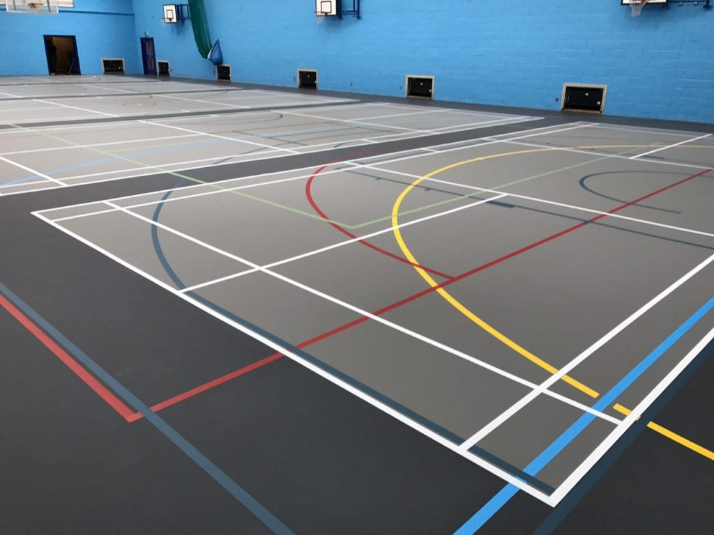 Pulastic multi-use sports floor installation with court markings for indoor Leisure Centre and school Sports halls