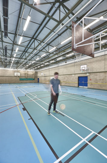school basketball court floor installed by Sports Surfaces UK