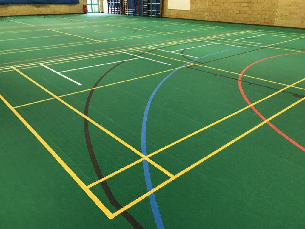 Pulastic sports flooring installed by Sports Surfaces for school sports hall