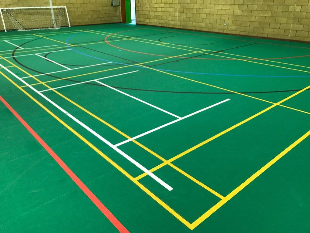 Sports Leisure centre line markings on floor by sports surfaces uk