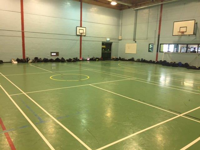 Sports centre before pulastic indoor sports floor refurbishment