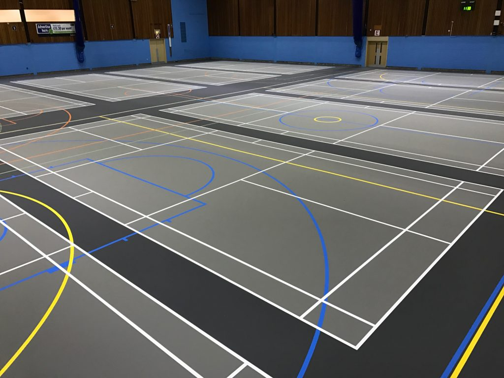 Leisure Centre sports hall refurbishment with pulastic floor and court marking by Sports Surfaces UK