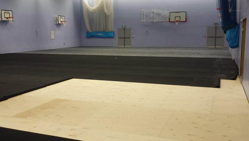 Indoor leisure centre sports floor installation