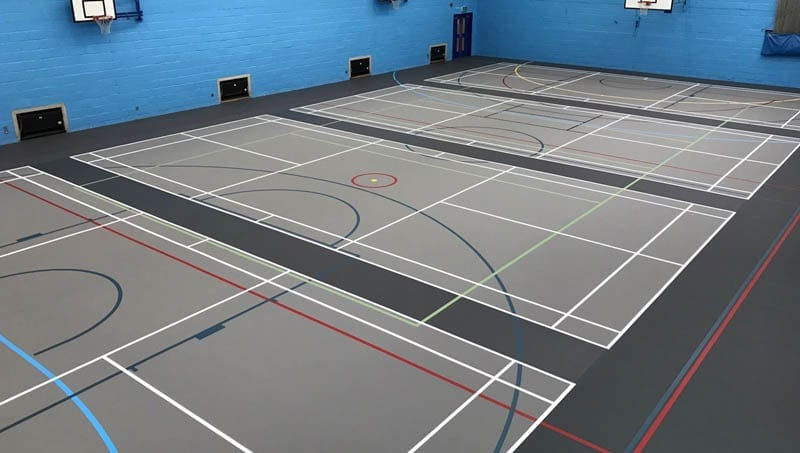 Polyurethane multi-use sports floor for indoor Leisure Centre and school Sports halls