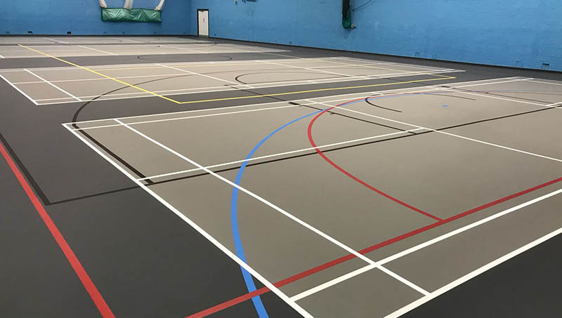 Facelift refurbishment on indoor sports flooring