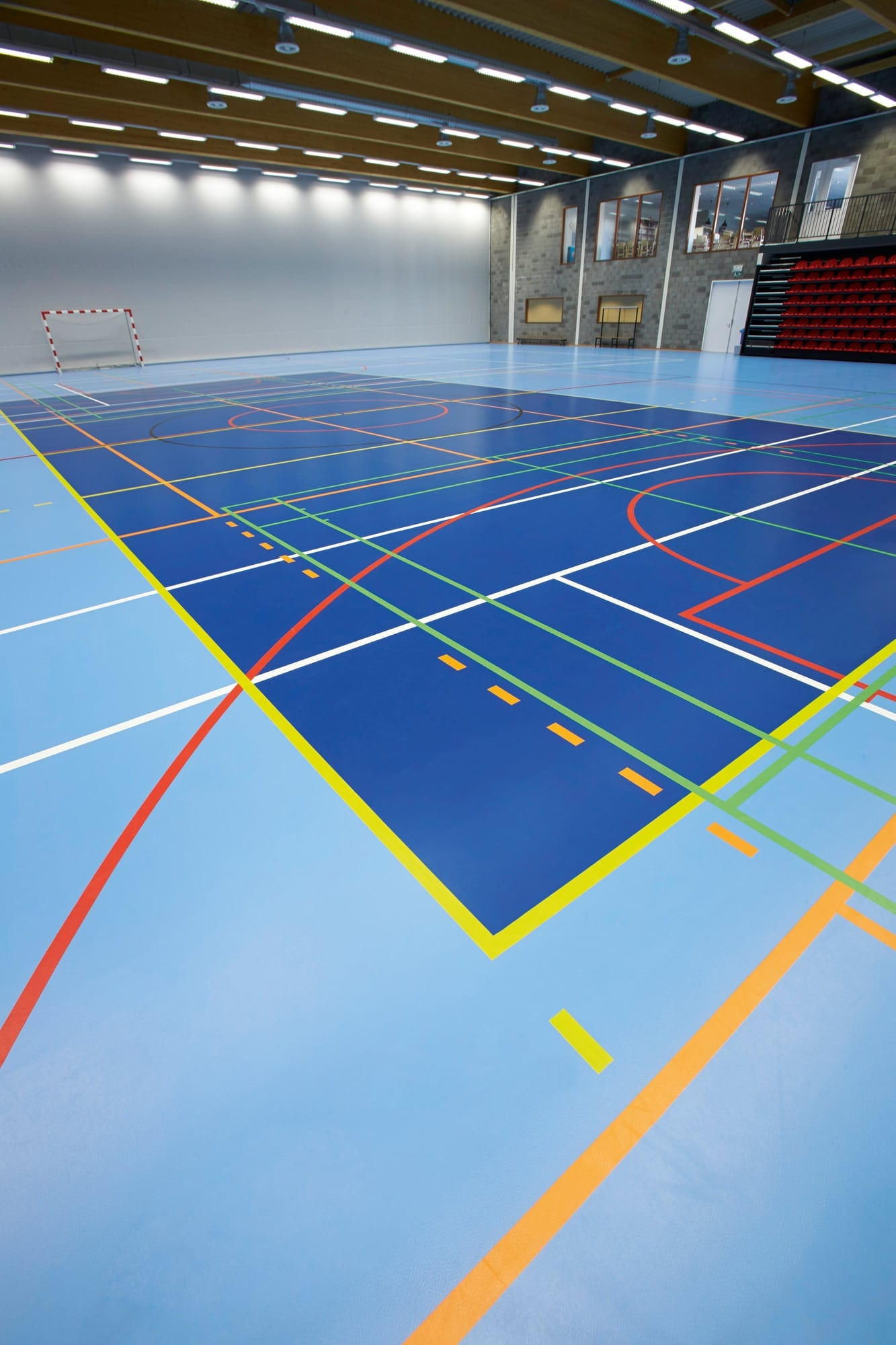 New multi-use leisure centre sports floor with line markings