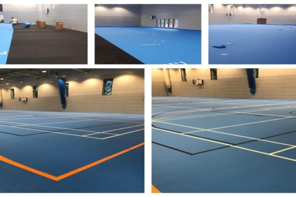 Sports Surfaces UK installed school Uni-turf with line markings for badminton cricket basketball courts