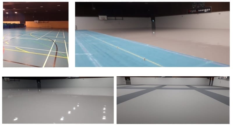 1145sqm Pulastic sports flooring face lift (over the existing floor) at Tryst Sports Centre.
