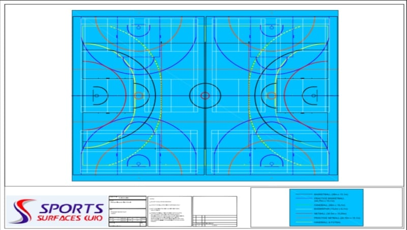 Plan of School leisure centre sports floor re-sizing