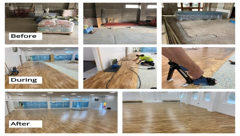 Resizing a school sports fitness studio floor