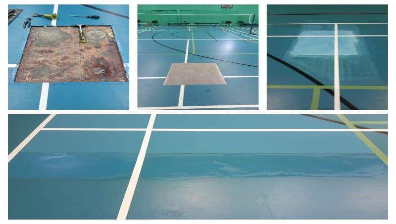 Repair on Pulastic School Sports Leisure centre floor
