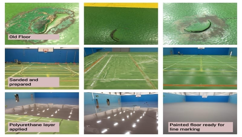 Pulastic Facelift for university leisure centre sports floor