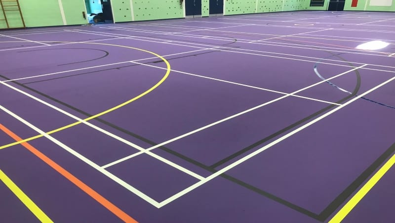Polyurethane multi-use school sports hall floor