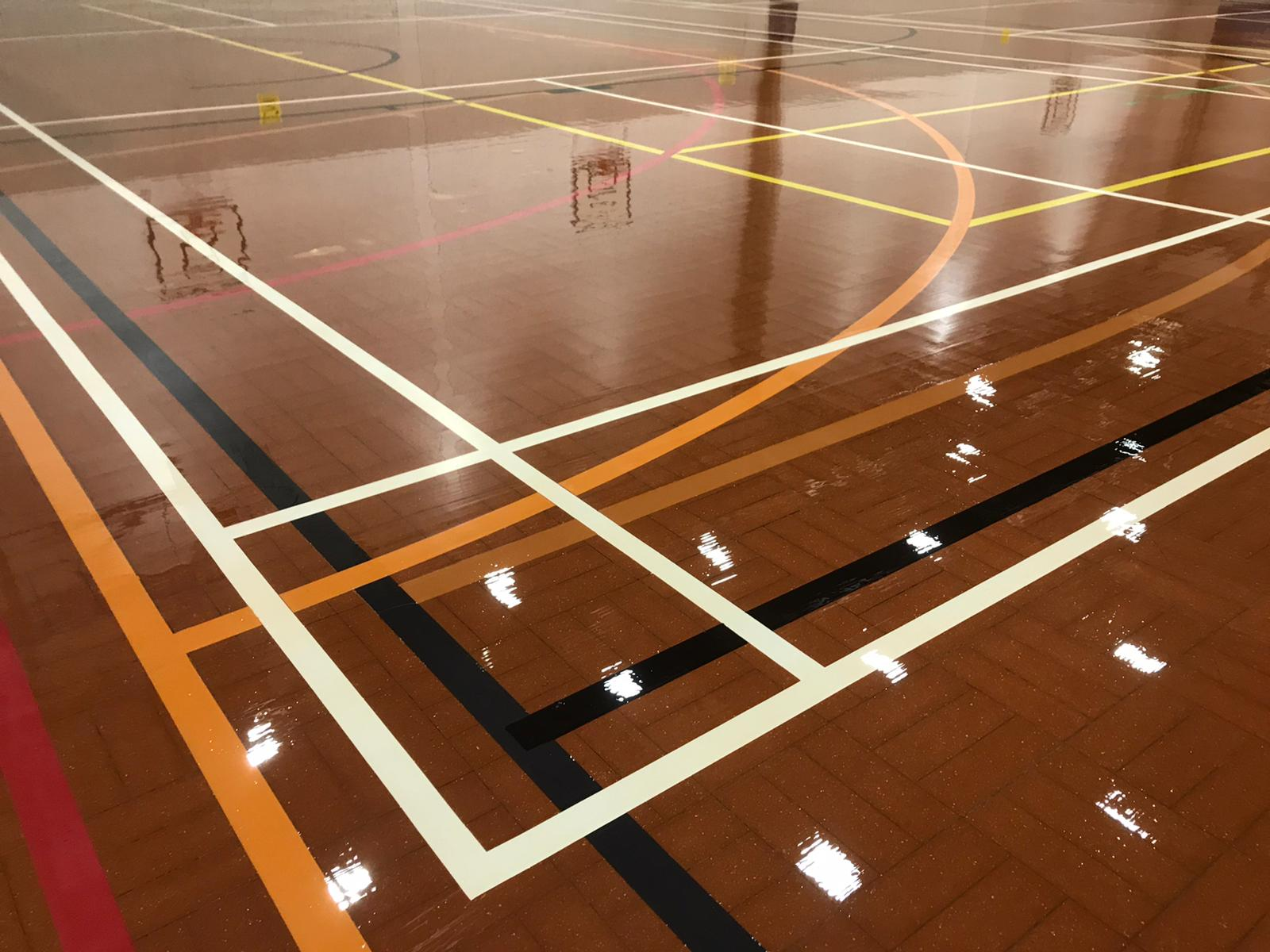Granwood floor with new court markings