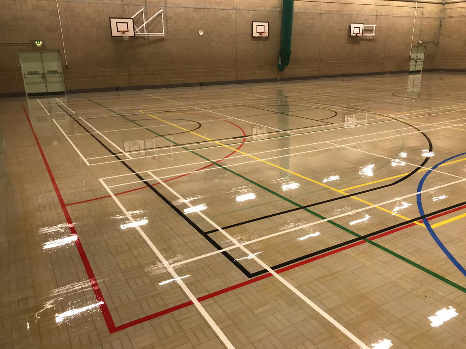 August 2020, Tiffin School – sand and seal 759 sqm Granwood floor plus line marking 12 new courts.