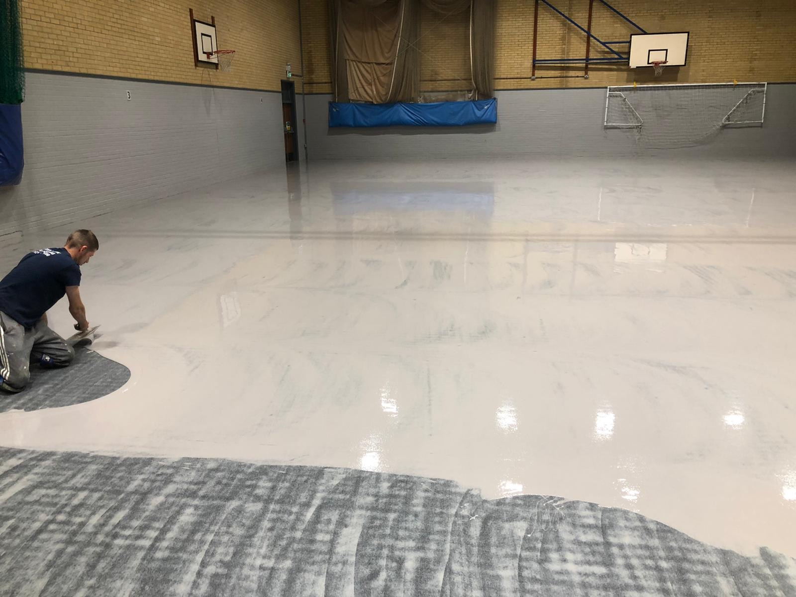Pulastic sports flooring installation at Sandwich Technology School.
