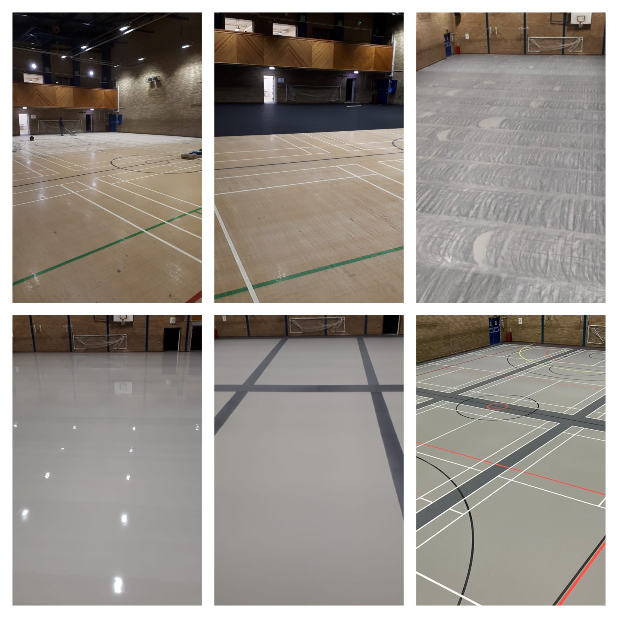 n old Granwood floor transformed into a new dusty and iron grey multifunctional sports floor at Barry Leisure Centre.