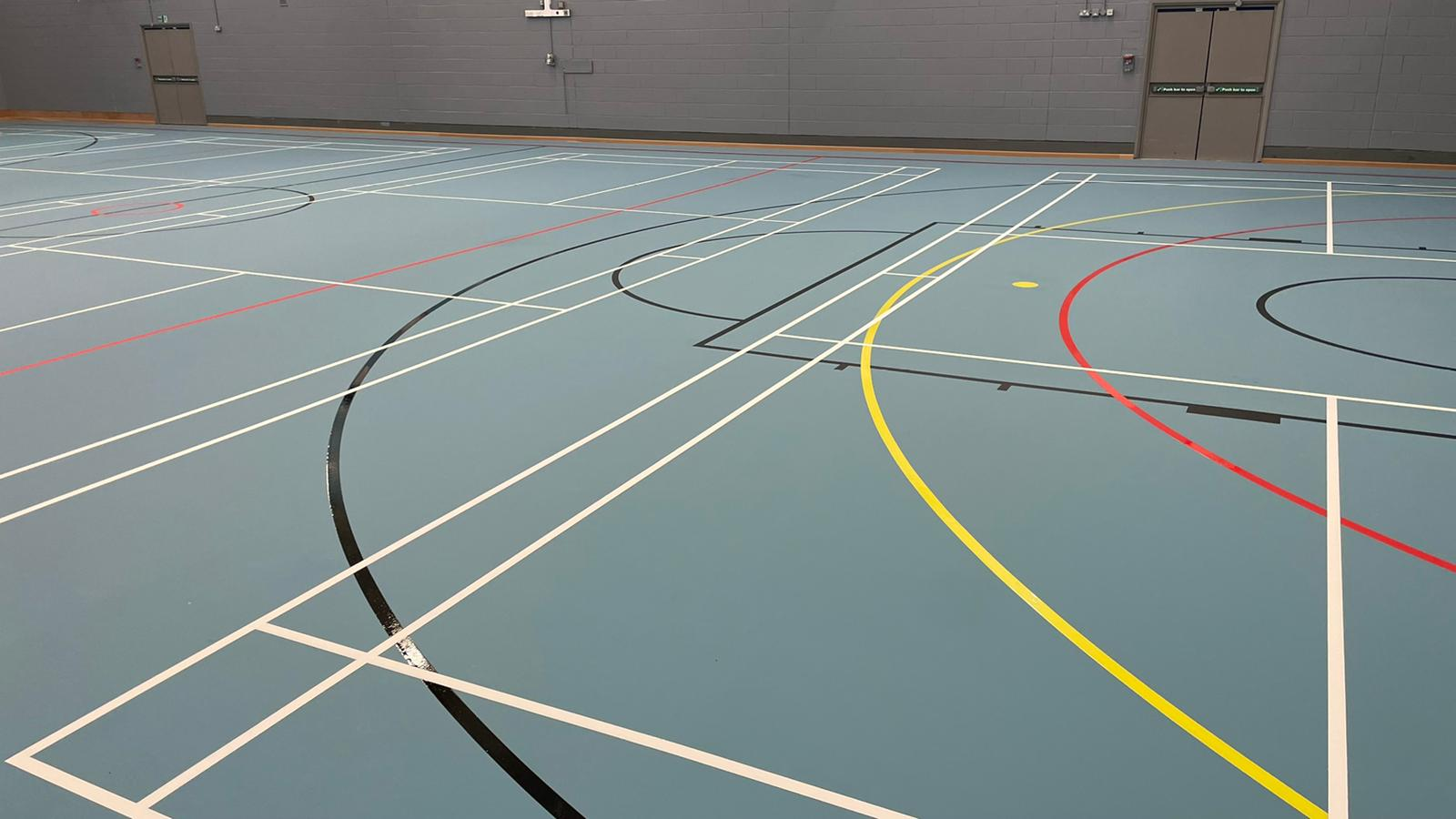 New indoor sports floor Garston Leisure Centre in Liverpool, SSUK Pulastic sports flooring Elite One 20 Eco floor.