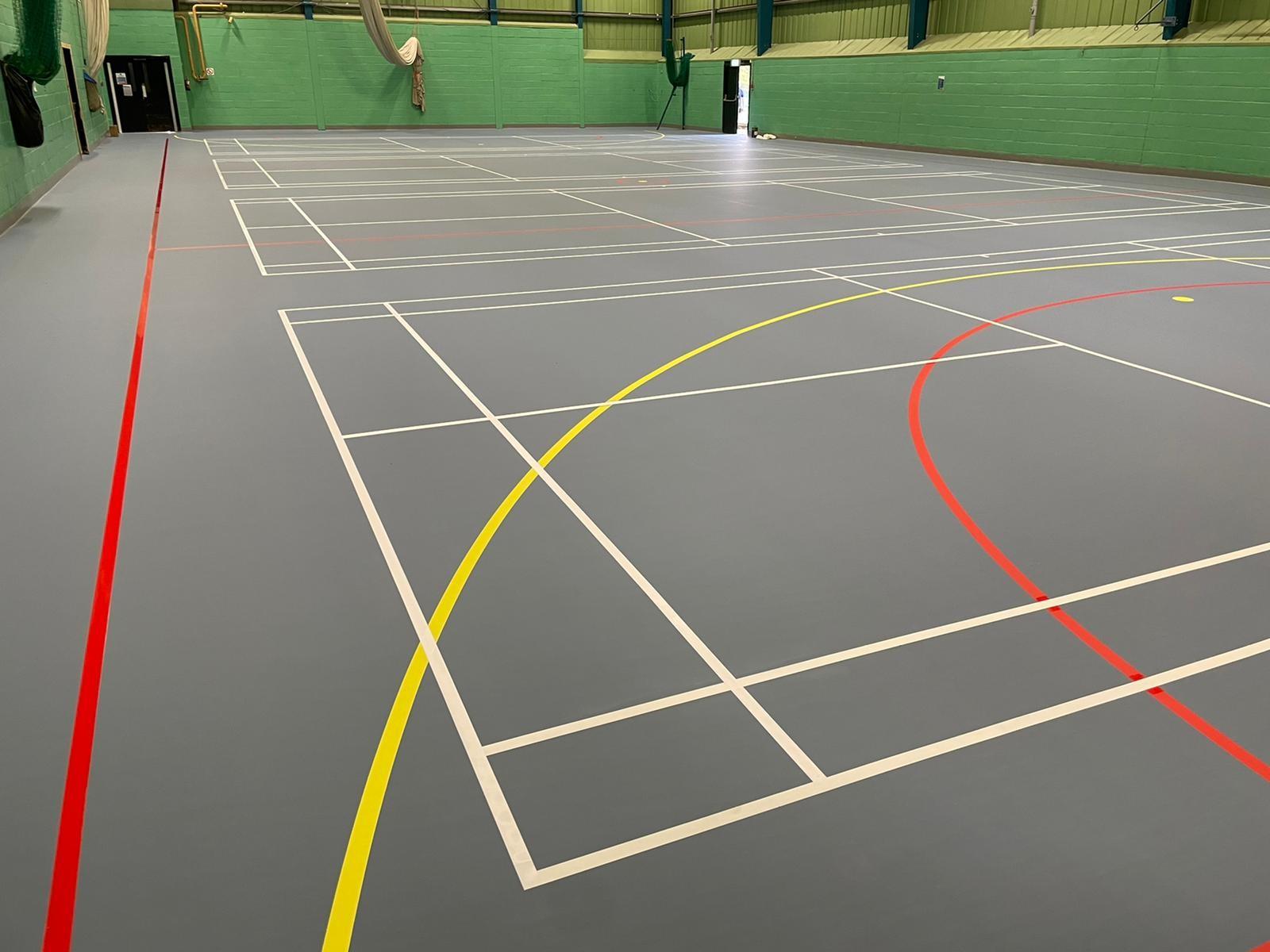 Our latest pigeon blue – Pulastic Classic 110 – multiuse indoor sports floor