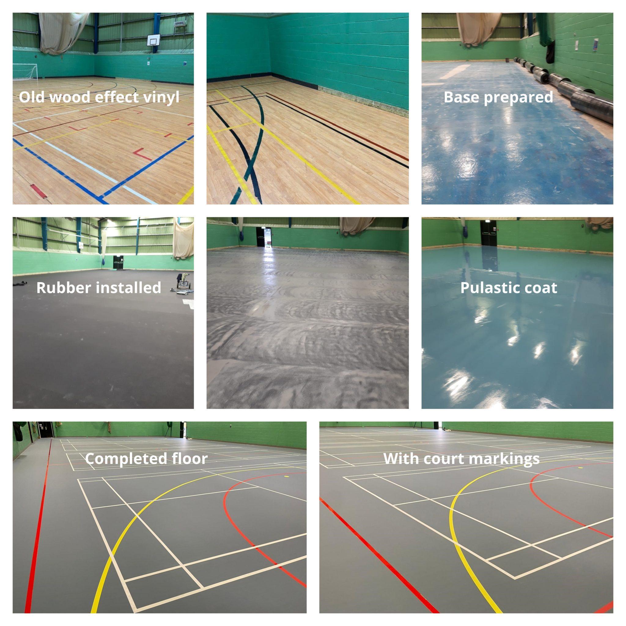 cool pigeon blue polyurethane indoor sports floor, complete with line markings.